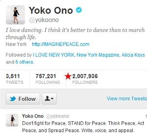 実は、日本人の中では孫さんじゃなくてオノ・ヨーコさんがツイッターのフォロワー数1位だったりします_b0007805_0202620.jpg