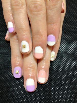 バイカラーの春nail☆_a0158476_22211091.jpg