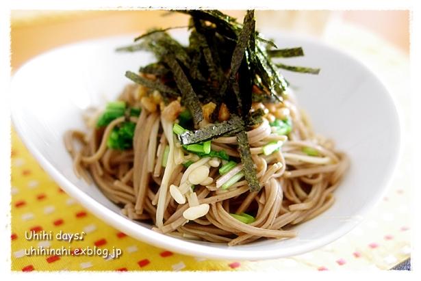 納豆えのき蕎麦_f0179404_21175420.jpg