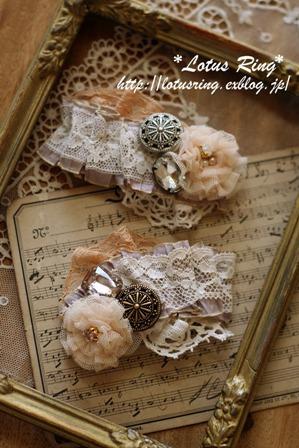 フランスのリボンとチュールのお花のスリーピン*_a0169912_9412018.jpg