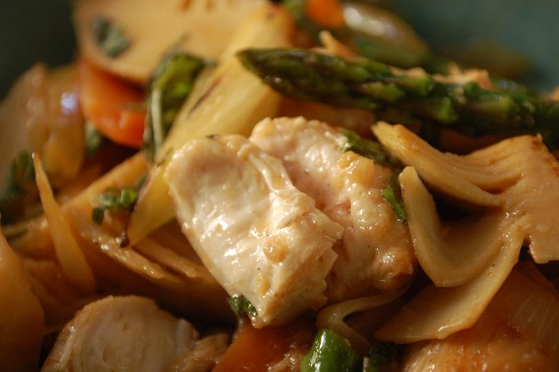 お箸で食べたい♪照り焼きチキンとオクラの和風パスタ_d0104926_1204732.jpg