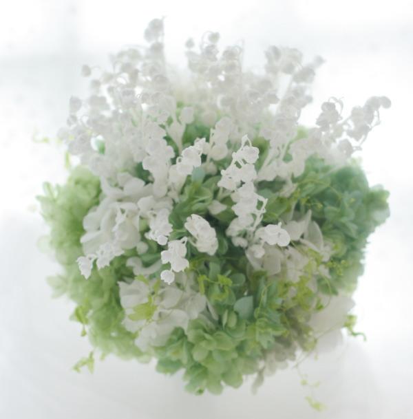 スズランブーケと花冠 プリザーブドフラワーで 京都パビリオンコート様へ_a0042928_1812423.jpg