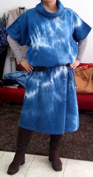 藍染め生地でチュニックドレス_c0247853_0271652.jpg