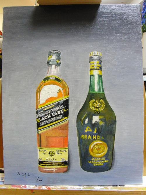油絵 ~ JohnnieWalker(黒) & CAMUS ~_e0222340_1825160.jpg