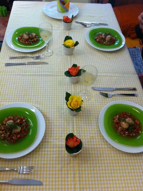 料理教室・・・小玉ねぎのキッシュ、帆立のポワレなど。_f0141419_6141673.jpg