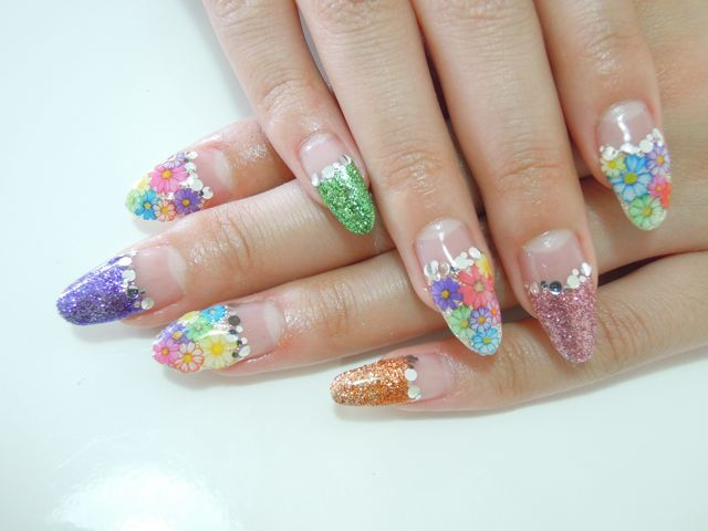 Colorful Flower Nail_a0239065_18163240.jpg