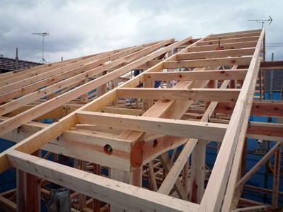 屋根垂木をかけると家の大きさがあらわになります。_a0148909_10265531.jpg