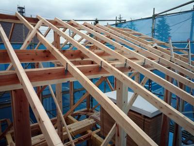 屋根垂木をかけると家の大きさがあらわになります。_a0148909_1027156.jpg