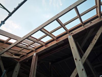 屋根垂木をかけると家の大きさがあらわになります。_a0148909_10285457.jpg