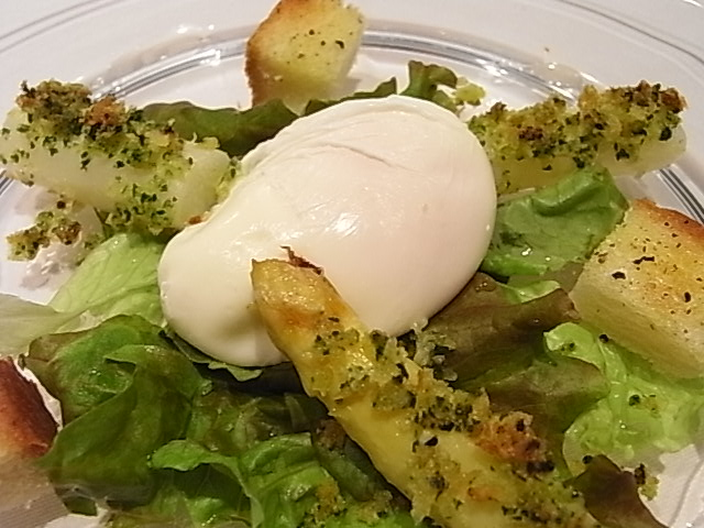 ホワイトアスパラガスのオーブン焼き、ポーチ・ド・エッグのサラダ仕立て_b0145846_2295048.jpg