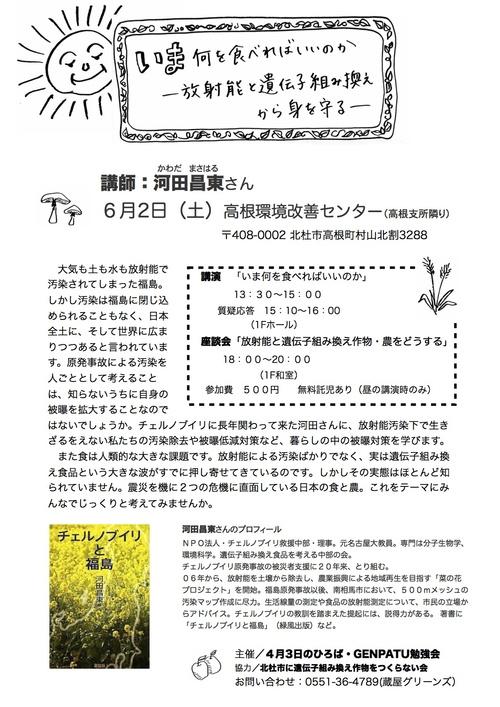 いま何を食べればいいのか〜放射能と遺伝子組み換えから身を守る〜河田昌東さん 、北杜市で講演会と座談会_e0105099_18513841.jpg
