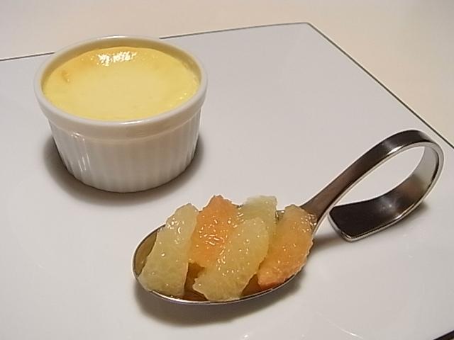 半熟スフレチーズ、グレープフルーツのコンポート_b0145846_21543079.jpg
