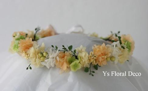 黄色とオレンジ色の花冠 セルリアン東急ホテルの新婦さんへ_b0113510_2261218.jpg