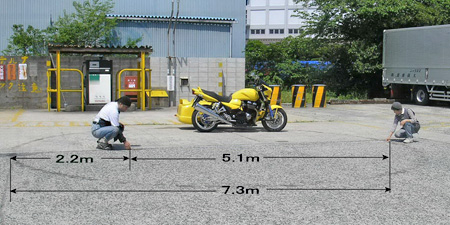 【サイドブレーキの試験と最小回転半径実測】_e0218639_0521128.jpg