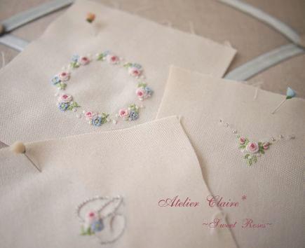乙女の為のソーイングボックス~Sweet Roses~小物の刺繡の試し刺し_a0157409_1920628.jpg