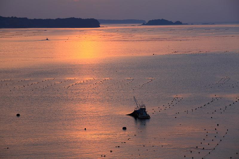 5/19朝早く目が覚めた 静かで美しい日の出 漁船が出ている _a0160581_4504674.jpg