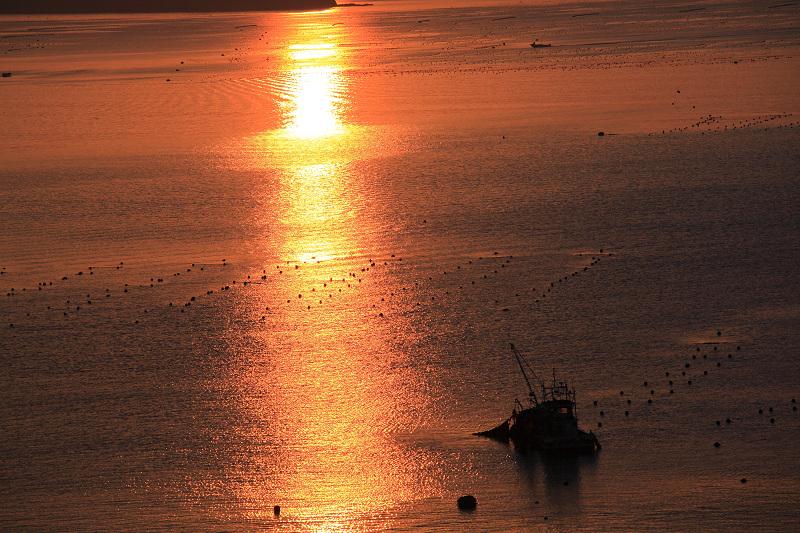 5/19朝早く目が覚めた 静かで美しい日の出 漁船が出ている _a0160581_451223.jpg