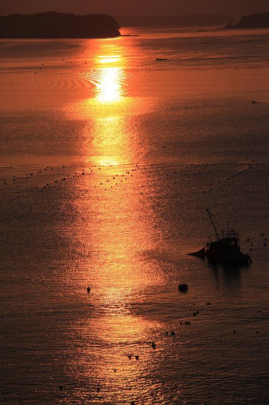 5/19朝早く目が覚めた 静かで美しい日の出 漁船が出ている _a0160581_4513967.jpg