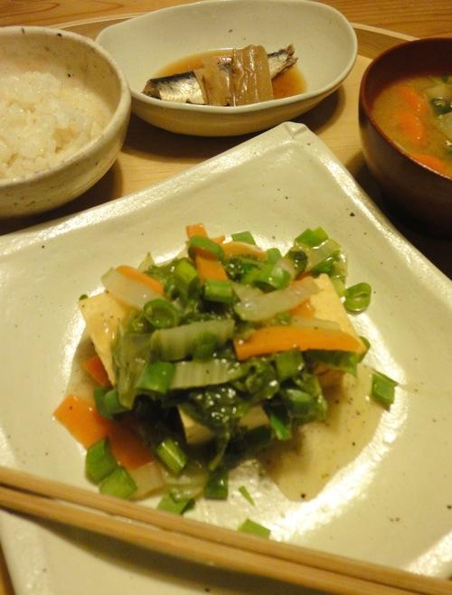厚焼き玉子、厚揚げの野菜あんかけ_f0054859_20572196.jpg