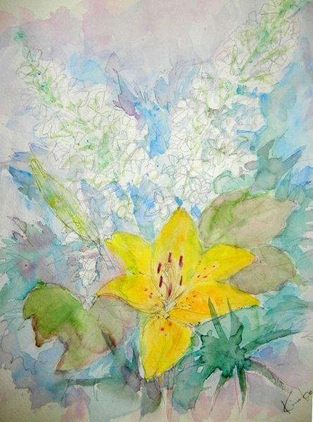 '12,6,10(月)柏葉紫陽花と百合を描きました!_f0060461_19575134.jpg
