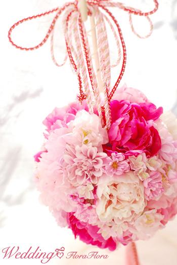 シルクフラワー*白無垢に 桜を感じる和のボールブーケ to目黒雅叙園様_a0115684_1927577.jpg