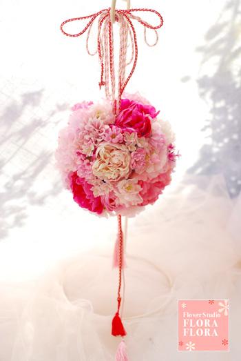 シルクフラワー*白無垢に 桜を感じる和のボールブーケ to目黒雅叙園様_a0115684_19325524.jpg