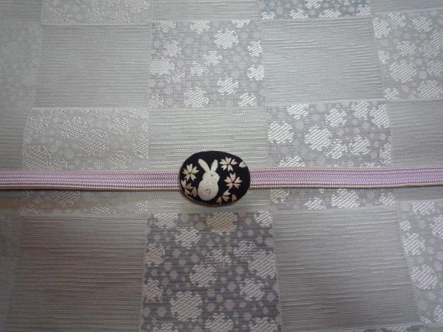 刺繍の動物の帯留と、おしゃれな雪輪の着物と帯。_f0181251_10243441.jpg