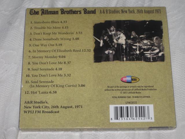 THE ALLMAN BROTHERS BAND / A & R STUDIOS:NEW YORK,26TH AUGUST 1971_b0042308_1781490.jpg