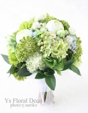 お色直しに グリーンたっぷりの花冠とお揃いのブーケ アーティフィシャルフラワー_b0113510_1702938.jpg