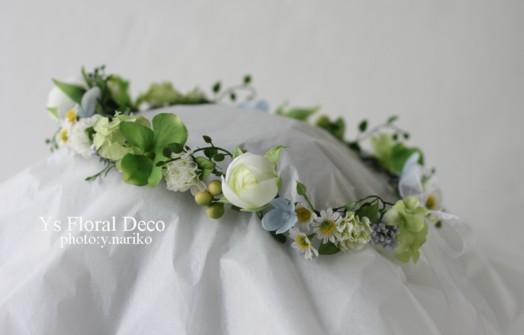 お色直しに グリーンたっぷりの花冠とお揃いのブーケ アーティフィシャルフラワー_b0113510_1704114.jpg