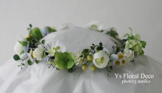 お色直しに グリーンたっぷりの花冠とお揃いのブーケ アーティフィシャルフラワー_b0113510_1704448.jpg