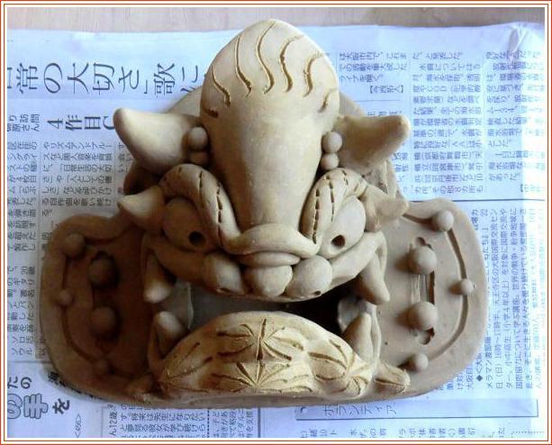 陶 芸 作 品 ( 鬼面飾り・・・第4弾・・・成形 )_b0104092_1103954.jpg