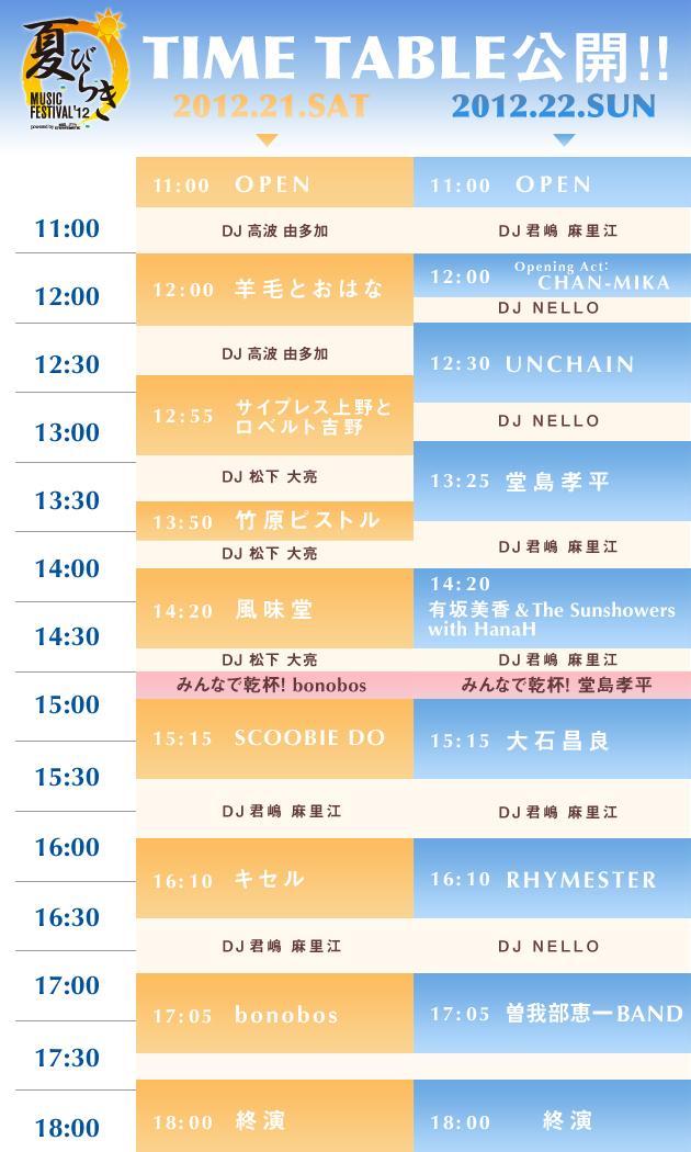 さーいよいよ!あと1日●夏びらきMUSIC FES☆2012 タイムテーブル公開▶_b0032617_2232486.jpg