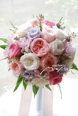 ピンク&ホワイトオールドのラウンドブーケ_a0136507_1517245.jpg