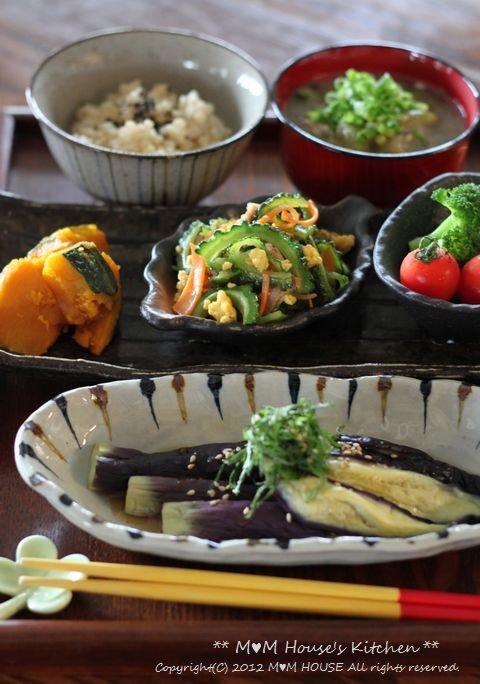夏野菜御膳  ☆ レンチン茄子の実験♪_c0139375_14495142.jpg