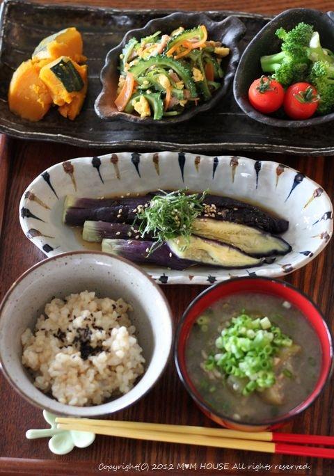 夏野菜御膳  ☆ レンチン茄子の実験♪_c0139375_1452688.jpg