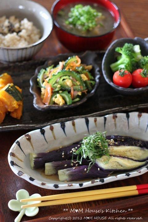 夏野菜御膳  ☆ レンチン茄子の実験♪_c0139375_14574691.jpg