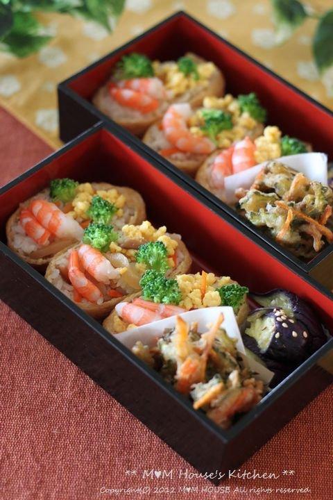 海老と卵のいなり寿司 ☆ 鶏もも肉のさっぱり煮♪_c0139375_1313407.jpg