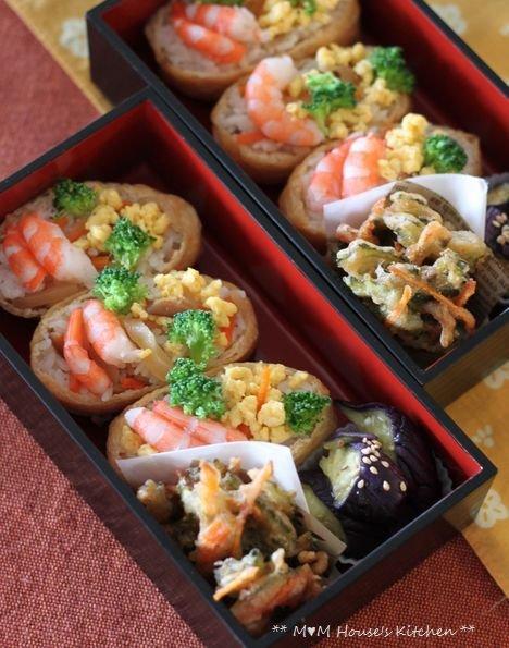 海老と卵のいなり寿司 ☆ 鶏もも肉のさっぱり煮♪_c0139375_13145395.jpg