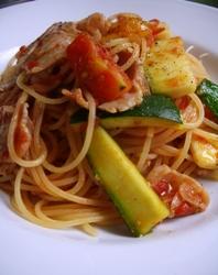 7/23本日のパスタ:豚肉とズッキーニのWトマト・スパゲティ_a0116684_11361277.jpg