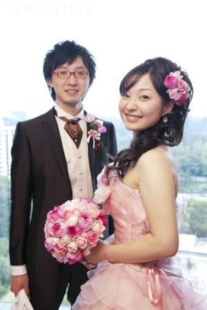 ピンク色のバラブーケ お色直しに_b0113510_1215838.jpg