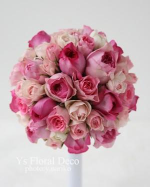 ピンク色のバラブーケ お色直しに_b0113510_1222198.jpg