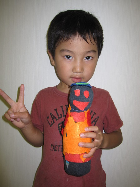 城陽教室 ペットボトル人形作り_f0215199_1627437.jpg