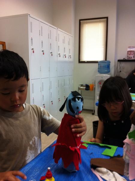 あべの教室 ペットボトルの人形作り_f0215199_0355085.jpg