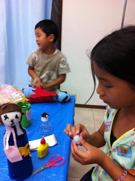 あべの教室 ペットボトルの人形作り_f0215199_0371393.jpg