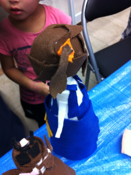 あべの教室 ペットボトルの人形作り_f0215199_0464989.jpg