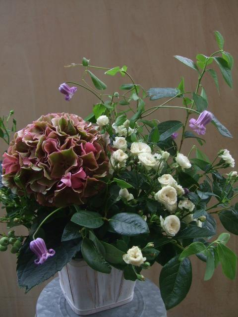 オークリーフ(紫陽花とバラとクレマチスのアレンジメント)_f0049672_13105778.jpg