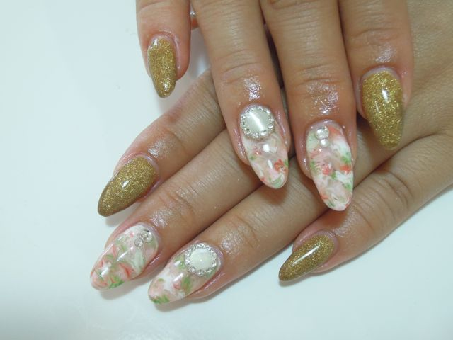 Ethnic Marble Nail_a0239065_11304184.jpg