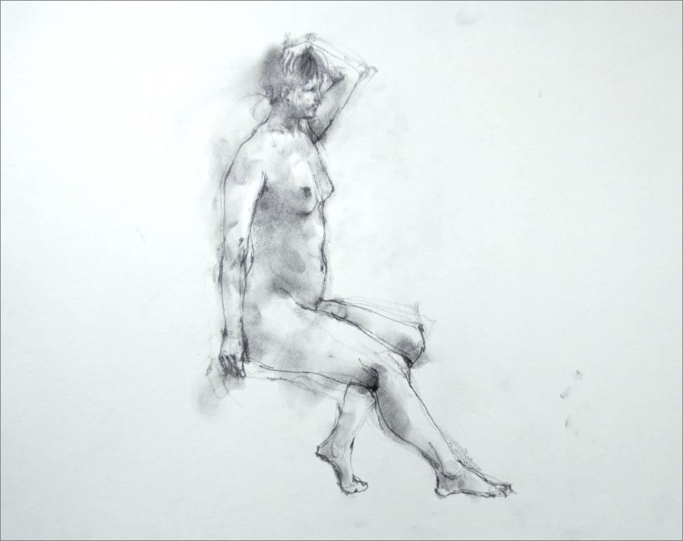 『裸婦素描・・・・・・片手を上げたポーズ その 5 』_f0159856_18495914.jpg