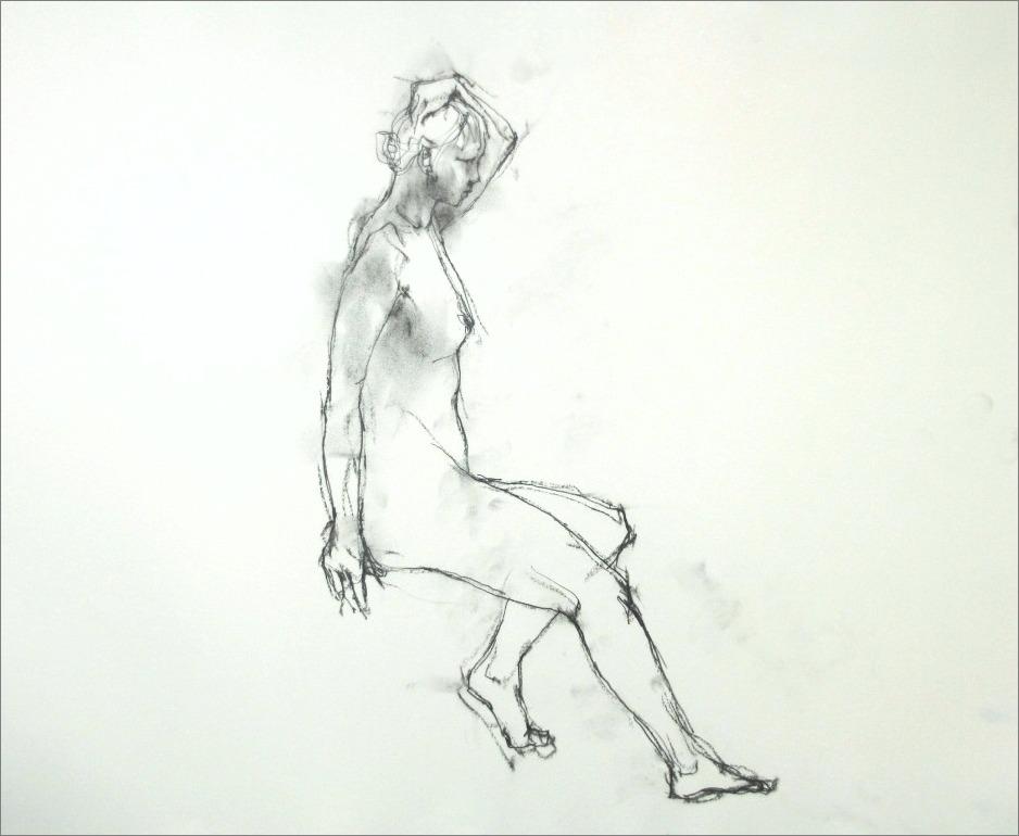 『裸婦素描・・・・・・片手を上げたポーズ その 6 』_f0159856_18522626.jpg